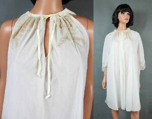 a02d5e55fbb Details about Vintage Peignoir Set M L White Sheer Chiffon Off White Ivory  Lace Nightgown Robe