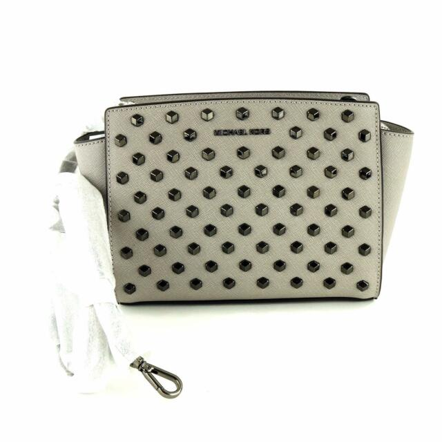 80e462fb454497 Michael Kors Selma Stud Medium Leather Messenger Bag $298, Pearl Grey
