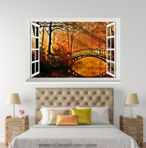 3D Sunset Bridge Forest 048 Open Windows WallPaper Murals Wall Print AJ Carly