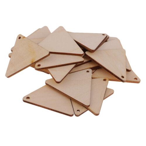 25pcs sans blanc triangle en bois Pièces Cadeau Étiquettes Wish Tree Tags 50 mm