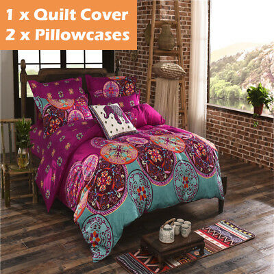 3pcs Duvet Doona Quilt Cover Set Milk Cow Pattern Single//Double//Queen Size Bed