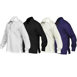 New-Scottish-Jacobite-Ghillie-Kilt-Shirt-Men-039-s-Sizes-Small-To-5XL