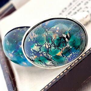 Vintage-CZECH-Blue-Green-Glass-Fire-Opal-Oval-Silver-Plated-Cufflinks-2