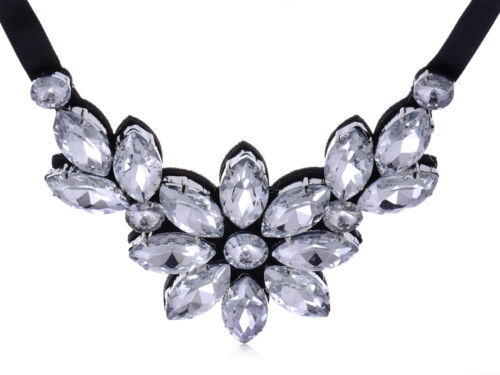 Fashion Black Satin White Crystal Rhinestone Flower Petal Bib New Necklace