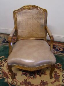 VINTAGE FRENCH CARVED OAK, BERGERE CANEWORK & LEATHER ...