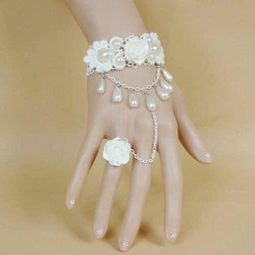 Rose Imitation Pearls Charm Bracelet Chain Wedding Bridal Jewelry Accessories