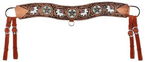 Showman Leather Tripping Breast Collar w Cowhide Inlays, Floral & Star Tooling