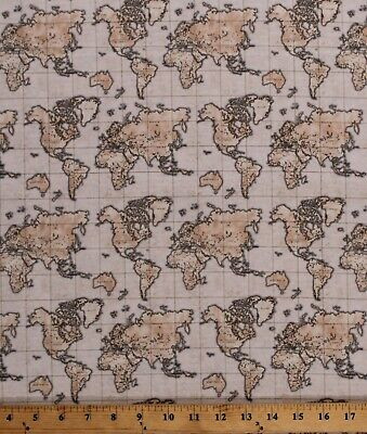 Cotton Atlas Maps Vintage Map of the World Travel Gold Fabric Print BTY D753.02