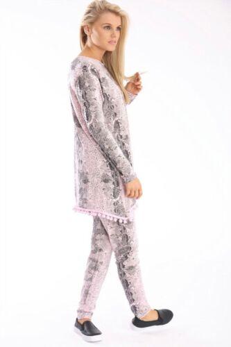 Womens Ladies Snake Print Pom Pom Loungewear Suit Tracksuit Set PLUS SIZE 16-26