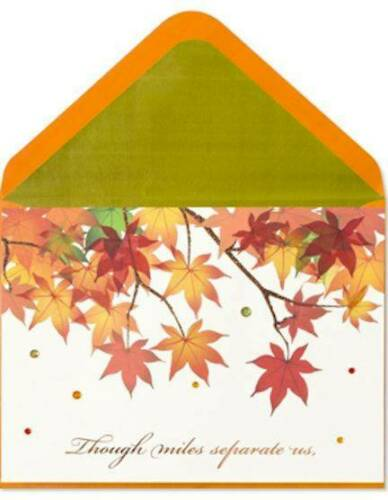 "/""Though Miles Apart We/'re Close in Hearts/"" PAPYRUS THANKSGIVING CARD $7 RTL"