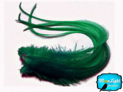 Solid Peacock Green Thick Extra Long Rooster Hair Extension Feather 6 Pieces
