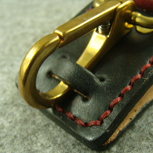 Genuine Leather Belt Clip Keychains Key Ring Holder With Brass Snap Hook Keyring