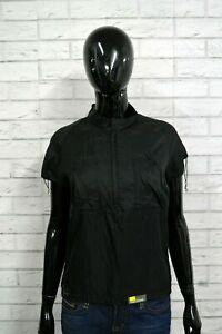 DIESEL-Maglia-Donna-Taglia-XL-Polo-Manica-Corta-Shirt-Nylon-T-shirt-Nera-Blusa