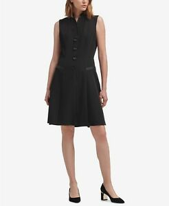 d1bb5e1888  180 NEW DKNY Women s BLACK TUXEDO A-LINE SILHOUETTE SLEEVELESS ...