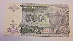 ZAIRE-Billet-500-Nouveaux-ZAIRES-1994-P64-MOBUTU-UNC
