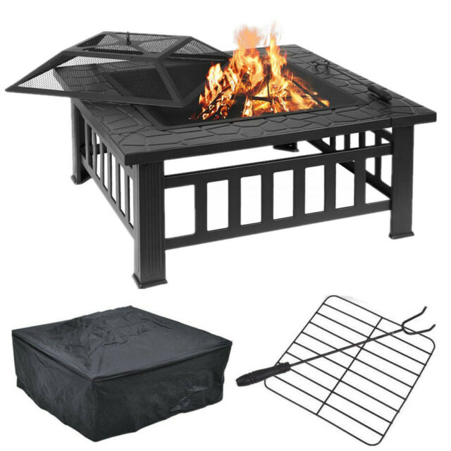 Square 3 in 1 Fire Pit Brazier Metal Garden Home Stove Patio Heater Outdoor BBQ
