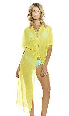 Sexy Copricostume Negligee Giallo Kimono trasparente chiffon vestaglia spacco S
