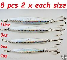8 pcs Diamond Jigs Holographic Saltwater Fishing Lures 2 x (10oz,8oz,6oz &4