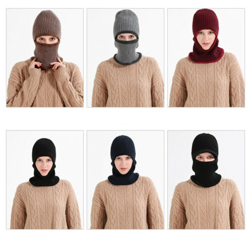 Mens Womens Peaked Beanie Hat Cap Chunky Knitted Warm Thermal Winter Neck Warmer