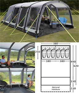 Image is loading K&a-Hayling-6-AIR-Pro-6-berth-person- & Kampa Hayling 6 AIR Pro 6 berth person man family inflatable tent ...