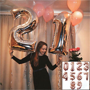 Details About 32 40 Inch Rose Gold 0 9 Number Foil Helium Balloons For Birthday Wedding Party
