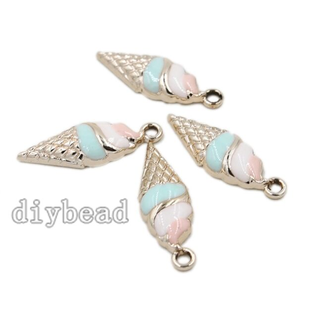 10x Gold Plated&Enamel Zinc Alloy Conch Charms Pendants Jewelry Components DIY D