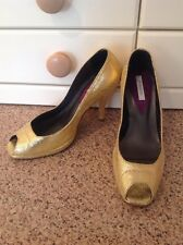 STUNNING PINKO GOLD SNAKE PRINT PEEP TOE HIGH HEEL SHOES UK SIZE 3-3.5 WORN