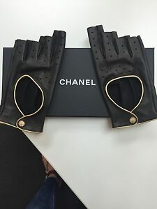 Chanel Driving Gloves Fingerless Black Leather With Gold ...