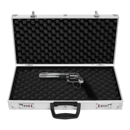 "19/"" Long Aluminum Locking Rifle Gun Case Lock Shotgun Storage Box Carry Case EK"