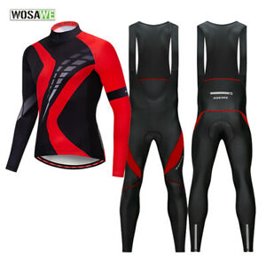 Men-Cycling-Sets-MTB-Road-Bike-Bib-Pants-Gel-Padded-Long-Sleeve-Jersey-Quick-Dry
