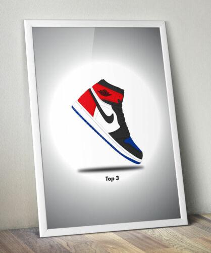 Nike Jordan 1 Retro Top 3 Minimalist Sneakerhead Vector Wall Art Poster