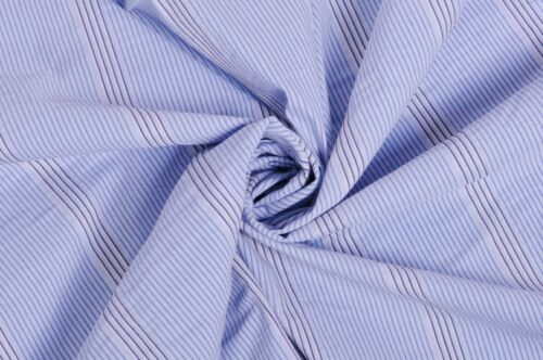 STUNNING LIGHT BLUE STRIPED STRETCH COTTON SHIRTING WOVEN FABRIC DRESS BLOUSE