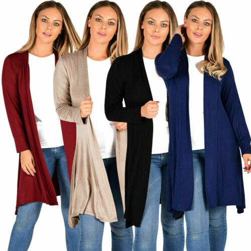 New Womens Ladies Long Sleeve Jersey Drape Waterfall Casual Stretch Cardigan Top