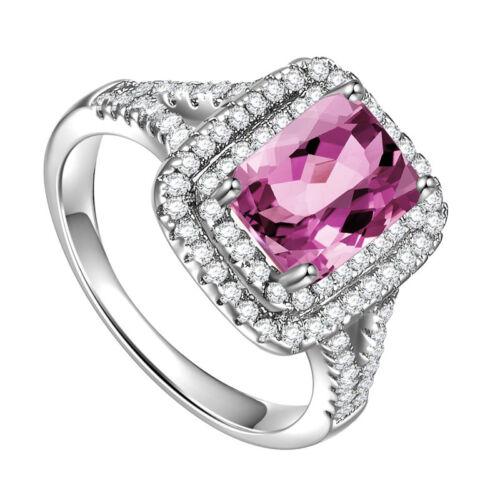 Fashion woman Princess Cut 2.95ct Pink Sapphire 925 Silver Ring Size 6-10