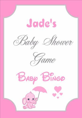 Personalised Baby Shower Bingo GamePink ElephantsSelect your Sheet Qty