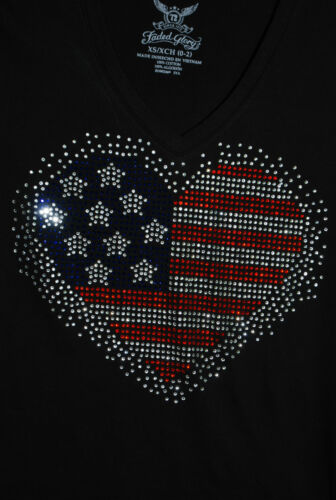 American Flag rhinestone bling shirt XS S M L XLXXL 1X  2X 3X 4X 5X heart  logo
