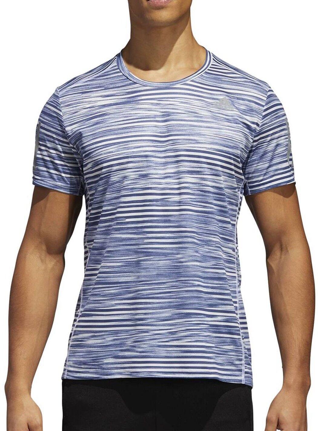 Adidas Response Print Mens Short Sleeve Running Top - bluee