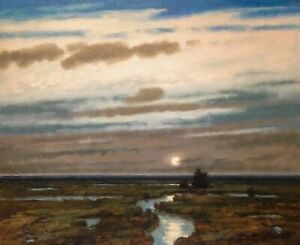 Lrg 24x20 Moonrise Fog Tidal marsh Impressionism Landscape Art Oil Painting moon