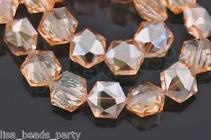 10pcs-12mm-Hexagon-Faceted-Crystal-Glass-Findings-Loose-Spacer-Beads-Amber-Gold