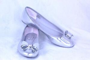 Ted-Baker-London-Women-039-s-Immet-Silver-Ballet-Flats-Bow-Slip-On-Size-7