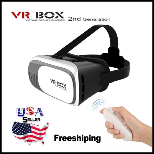 NEW Google Cardboard 2nd Gen VR BOX Virtual Reality 3D Glasses Bluetooth Remote