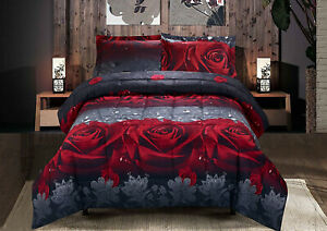 Lovely-Red-Grey-Black-Realistic-Floral-3-pcs-King-Boxed-Comforter-Shams-Set-New