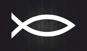 Details Zu Aufkleber Sticker Auto Motorrad Fisch Christentum Ichthys Symbol Weiß