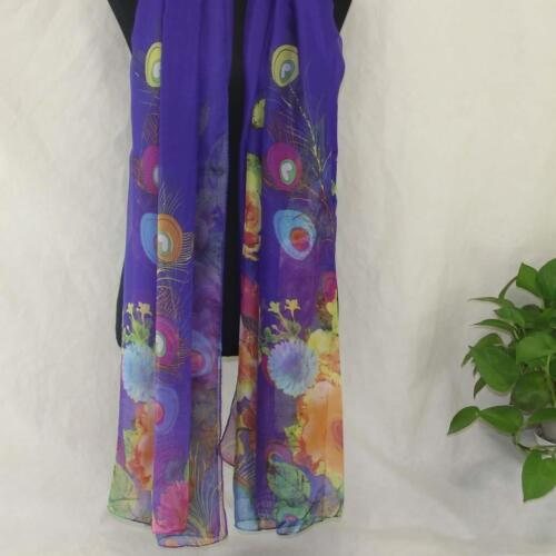 AIP Vintage Elegant Wrap Silk Chiffon Butterfly Scarf  Printed Long Shawl15