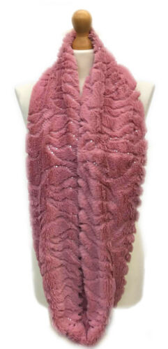 WOMENS LADIES TIPPET SOFT CHUNKY SNOOD FLUFFY FUR DOUBLE LOOP SCARF XMAS GIFT