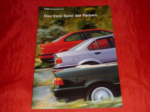 BMW 3er E36 Limousine Coupe Cabrio Personal Line Farben Prospekt Brochure 1993