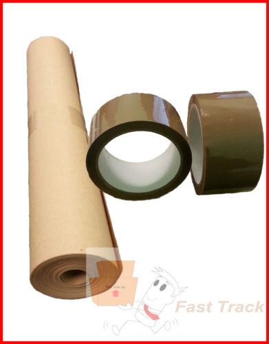 """2 rouleaux de Buff Brown Parcel Polyprop Tape 2/"""" 500 mm x 25 m Papier kraft rouleau"""