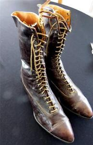 Antique-Edwardian-Brown-Leather-034-Nine-O-039-Clock-School-Shoes-Size-6-1-2-7-Narrow
