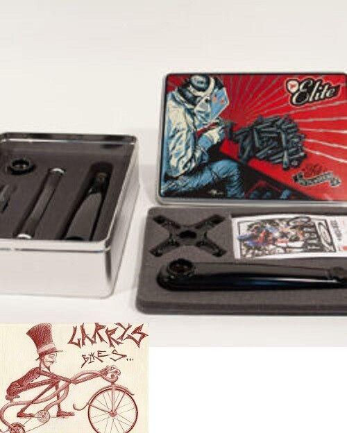 PROFILE Racing ELITE Negro Azul manivela con SPIDER y soporte inferior -- seleccione su longitud del brazo