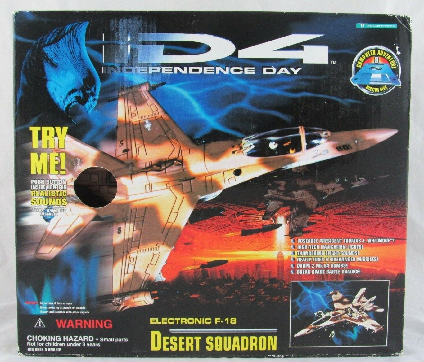 Trendmasters ID4 Independence Day Electronic F-18 Desert Squadron, In Box